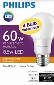 amazon com philips led bulb 4 pack 60 watt equivalent daylight
