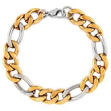 silver gold plated bracelet images Men 39 s crucible gold plated two tone stainless steel figaro chain