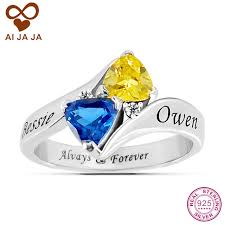 wedding ring with name engraved ai jaja s promise custom engraved birthstone rings sterling