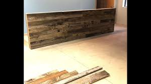 how to build a reclaimed wood wall reception desk area youtube