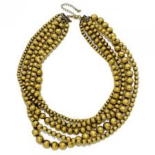 multi statement necklace images Festive metallic gold balls beaded multi strand statement necklace jpg