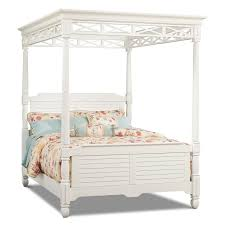 Bedroom Sets American Signature Plantation Cove 5 Piece King Canopy Bedroom Set White Value