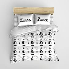 Personalized Comforter Set Black And White Cats N Dogs Minimalist Kids Bedding Personalized