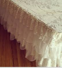 renting tablecloths ruffled lace tablecloth made from repurposed vintage linens for