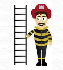 fireman holding ladder cartoon clipart vector toons