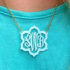 monogram necklace acrylic jordann jewelry magnolia acrylic lace monogram necklace i