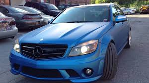 blue mercedes matte metallic blue mercedes c63 by restyle it wrapped to