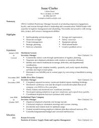 Sample Resume For Warehouse Manager by Sample Resume For Inventory Manager Resume For Your Job Application