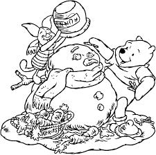 coloring piglet winnie snowman picture