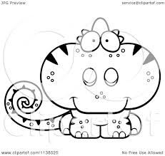cartoon clipart of an outlined cute chameleon lizard black and