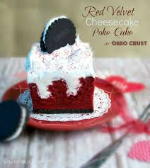 red velvet cheesecake poke cake with oreo crust