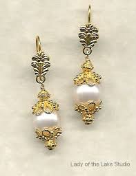 18k gold earrings 18k gold cultured pearl and gemstone designer jewelry of