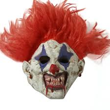 scary clown mask wide devil red hair evil creepy halloween