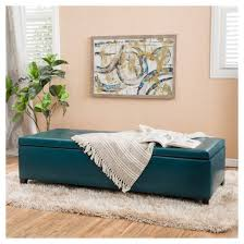 alfred faux leather large storage ottoman bench teal