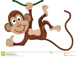 monkey hanging on a branch thumbs up stock vector image 64083531