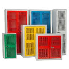 Metal Storage Cabinet With Doors Metal Cabinet Storage With Colorful Mesh Doors And Shelves