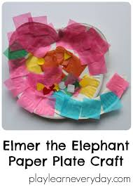 elmer the elephant paper plate craft play and learn every day