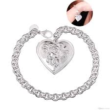 love pendant bracelet images Locket pendant heart pattern charms bracelet 925 sterling silver jpg