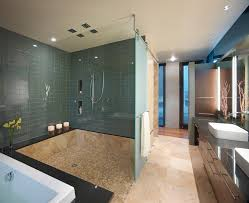 Wheelchair Accessible Bathroom Design by Glass Bubble Tile Bathroom Contemporary With Subway Ceramic Vessel