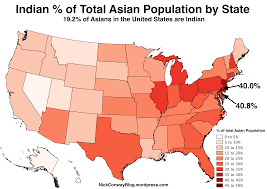 United States Map By Population by Chinese Indian Filipino And Vietnamese Shares Of The Total