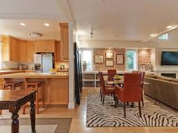Traditional Dining Room With Zebra Area Rug  Interior Brick In - Area rug dining room
