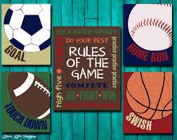 Sports Decor Sports Nursery Boy Room Decor Rules Of The Game - Kids sports room decor