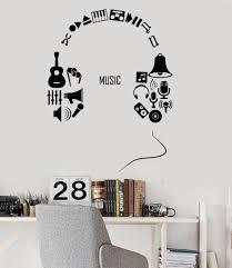 vinyl wall decal headphones music musical teen room decor stickers