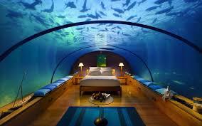 chambre aquarium fond d écran intérieur lit un hôtel piscine sous marin