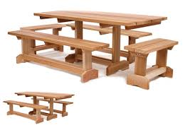 wooden market picnic tables by all things cedar patio tables