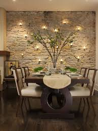 love the stone wall and tea lights gives this indoor room an
