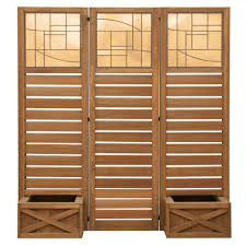 privacy screen room divider yardistry 62 in x 18 in garden screen with planters ym11658