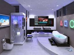 amazing sci fi bathroom design with high end lcd tv idea tv