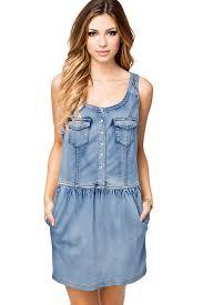light blue pockets single breasted denim dress casual dresses