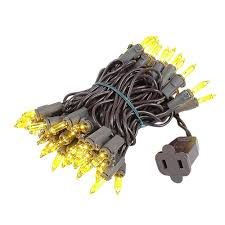 brown cord mini lights yellow christmas mini lights set 50 light brown wire 11 feet