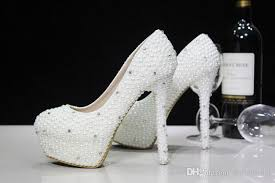 wedding shoes cork fashion luxurious pearls crystals wedding shoes custom made size