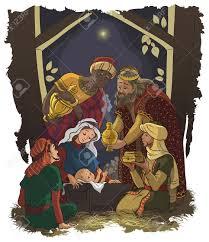 nativity scene jesus mary joseph and the three kings royalty