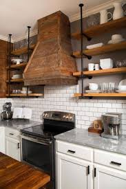 superb kitchens with black tile rustic industrial kitchen with wood pipe shelves subway tile