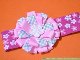 ribbon hair bow 3 ways to make a ribbon hair bow with flowers wikihow