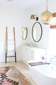boho bathroom ideas bathroom boho white bathroom with pattern rug and ladder storage