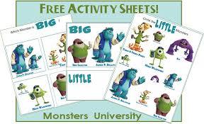 big worksheet monsters university printables