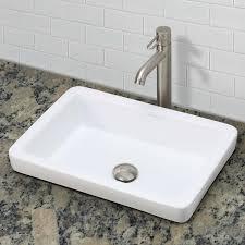 semi recessed bathroom sinks decolav ambre 1453 cwh semi recessed rectangular vitreous china