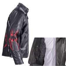 black motorcycle jacket mens black racer style motorcycle jacket with red flame inserts on the