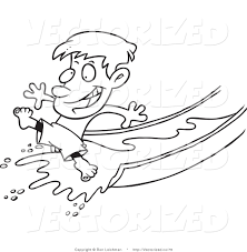 vector of a coloring page of a happy boy on a water slide by