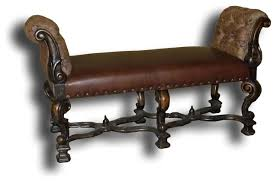 Brown Leather Bench Seat Window Seat Bench Brown Leather Traditional Indoor Benches