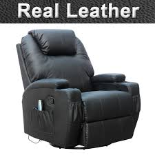 Leather Rocking Chair Cinemo Real Leather Recliner Chair Rocking Massage Swivel Heated