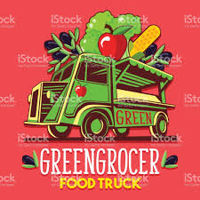 fruit delivery service food truck fruit seller greengrocer stand fast delivery service