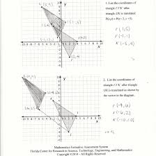 Reflections And Rotations Worksheet Translation Coordinates Students Are Asked To Translate Two