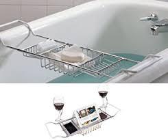bathtub caddy with book holder amazon com ipegtop 304 stainless steel bathtub caddy tray over