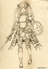 female knight pencil sketch by cakeroll on deviantart