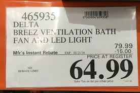 delta breez ventilation system bath fan and led light vfb80hled2